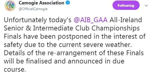 The Camogie Association say it will announce the rescheduled matches in due course