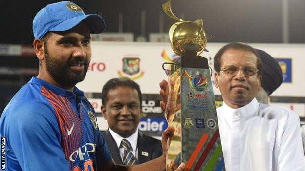 India captain Rohit Sharma with the T20 tri-series trophy