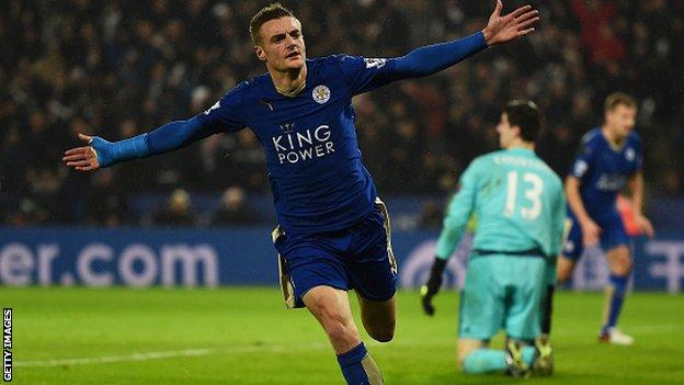 Leicester City forward Jamie Vardy celebrates scoring