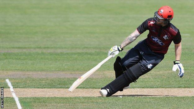 Ben Stokes runs between the wickets