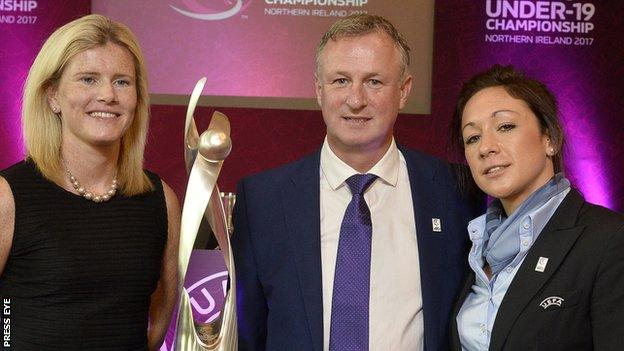 NI women's player Julie Nelson, men's manager Michael O'Neill and Nadine Kesler