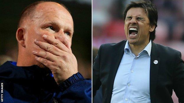 Simon Grayson (left) is replaced as Sunderland manager by Chris Coleman during the Netflix documentary