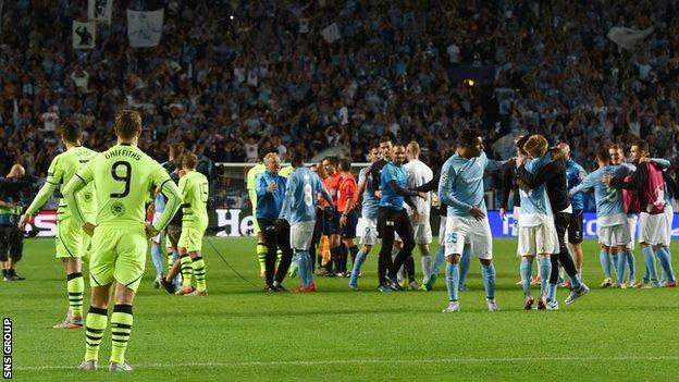 Celtic lost 4-3 on aggregate to Malmo in the final round of Champions League qualifying