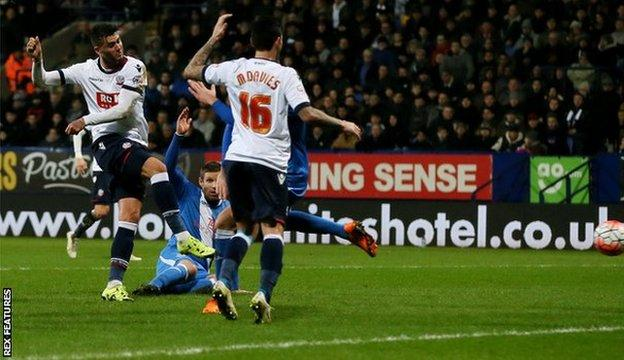 Gary Madine scores for Bolton