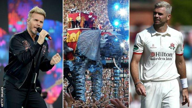 Split image of Garry Barlow, Take That's elephant from their Circus tour and James Anderson of Lancashire