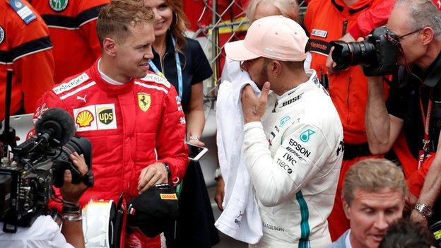 Mercedes F1 driver Lewis Hamilton and Ferrari driver Sebastian Vettel