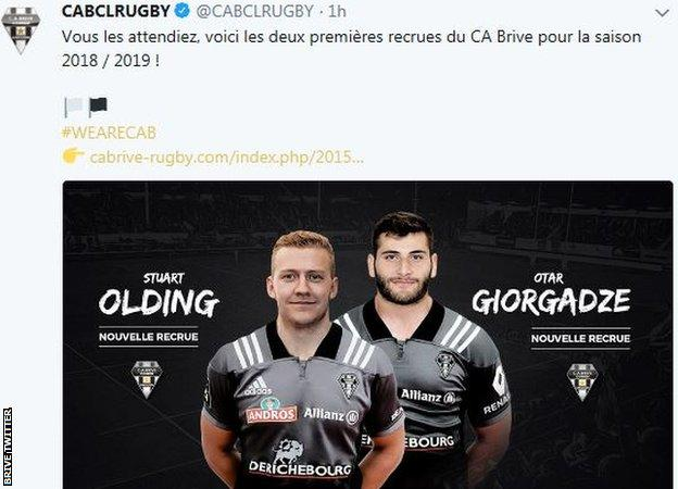 Stuart Olding has signed a two-year contract with Brive