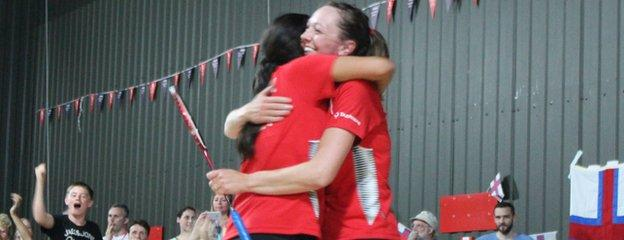 Mariana Agathangelou and Kerry Coombs-Goodfellow celebrate winning their match
