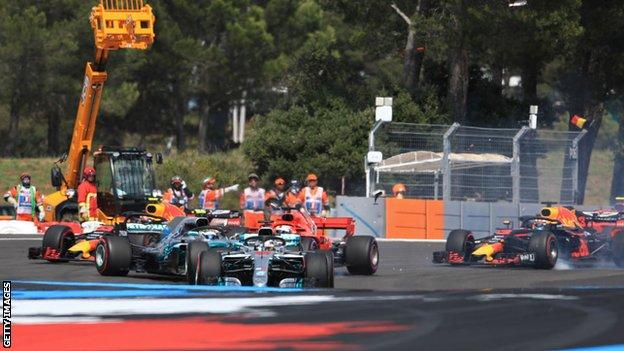 Lewis Hamilton leads the French Grand Prix