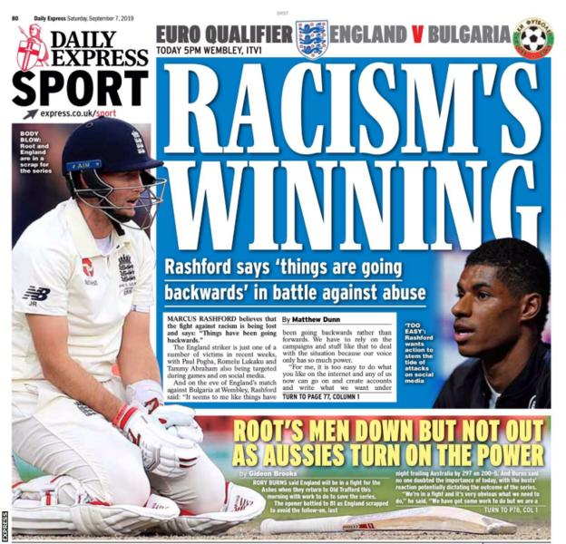Saturday's Express back page