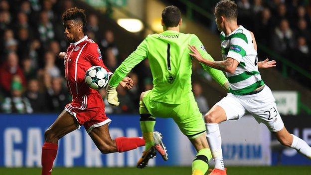Celtic goalkeeper Craig Gordon and Bayern Munich attacker Kingsley Coman