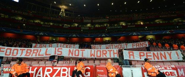 Bayern Munich fans staged a protest in the Champions League game at Arsenal