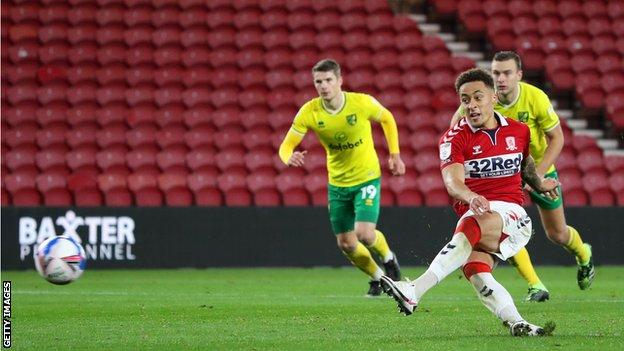 Middlesbrough's Marcus Tavernier takes a penalty