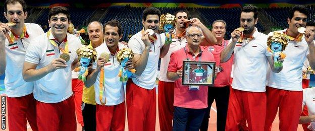 Iran's sitting volleyball team won gold on Sunday and dedicated it to Golbarnezhad
