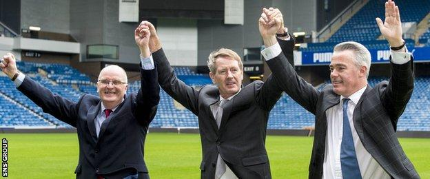 Dave King (centre) led a successful boardroom takeover at Ibrox in March