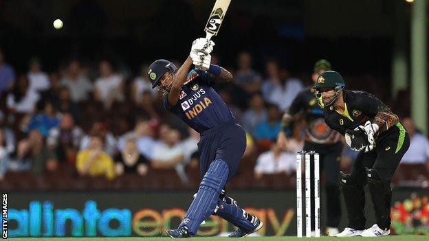 India's Hardik Pandya bats during the second Twenty20 against Australia in Sydney