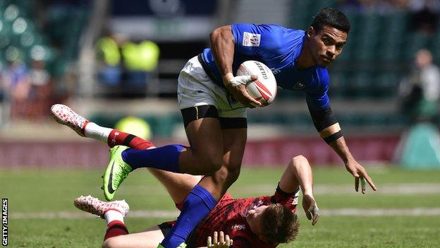 Gordon Langkilde in action for Samoa against Wales during the London Sevens in 2017