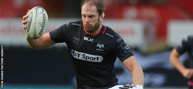 Lock Alun Wyn Jones impressed on his return to Ospreys action after World Cup duty with Wales