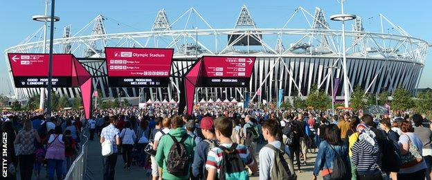 Supporters outside of the Olympic Park ahead of day seven of the 2012 Olympic games