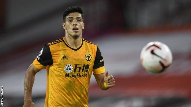 Raul Jimenez playing for Wolves