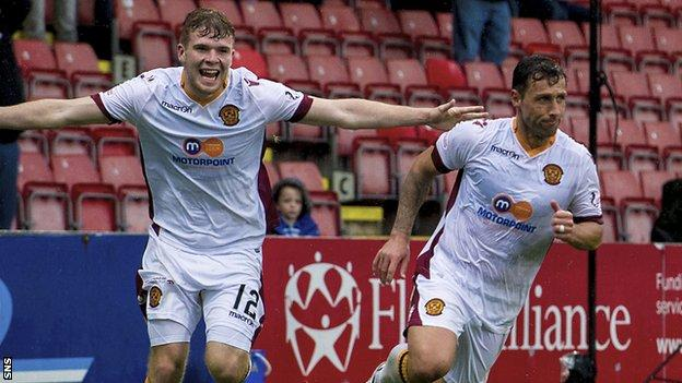 Motherwell's Scott McDonald (right) celebrates the equaliser with Chris Cadden