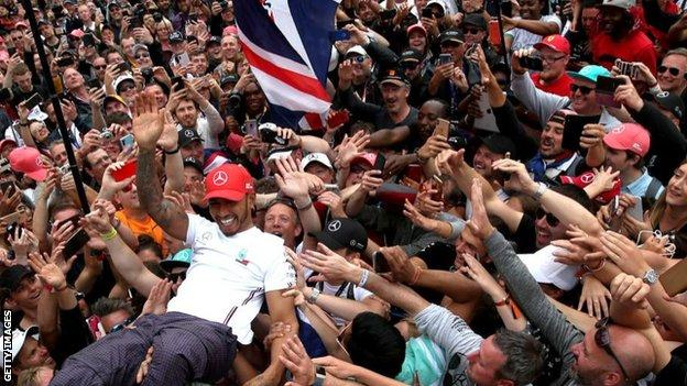 There will be no crowd surfing from Lewis Hamilton after this year's British Grand Prix