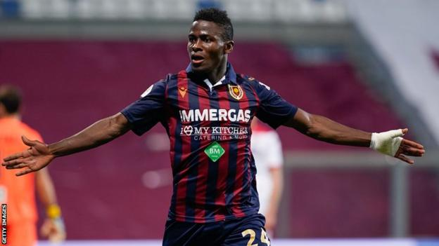 Augustus Kargbo celebrates a goal for Reggiana