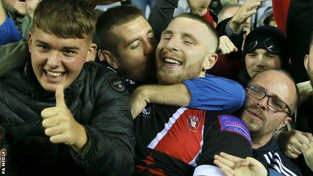 Jackson Hastings is mobbed by Salford supporters