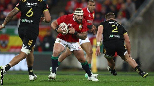 Joe Marler playing for the Lions