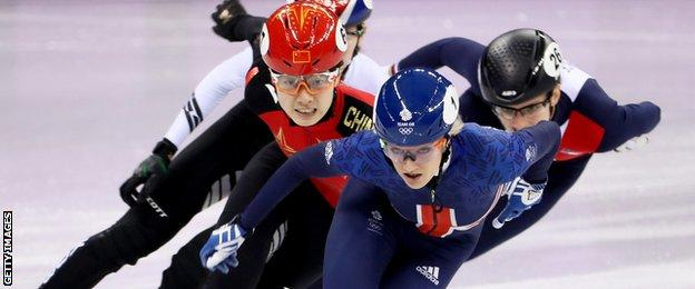 Elise Christie on day one of the Olympics