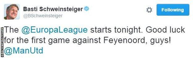 Bastian Schweinsteiger tweet