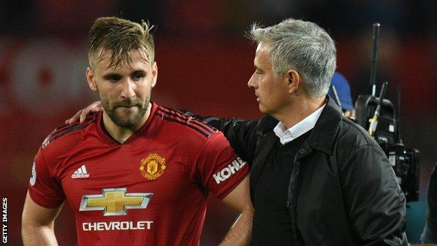 Luke Shaw and Jose Mourinho