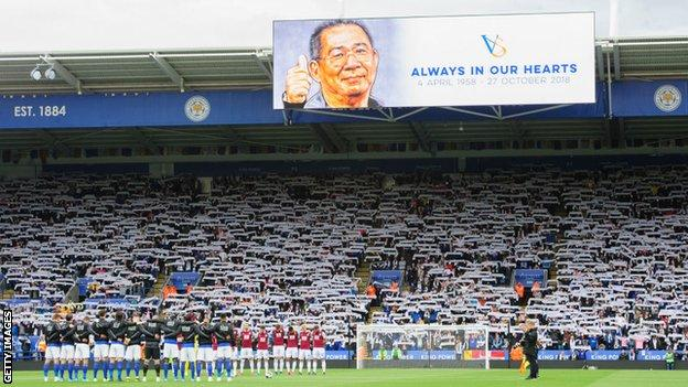 Leicester City pay tribute to late chairman Vichai Srivaddhanaprabha before kick-off, with the first anniversary of his death approaching