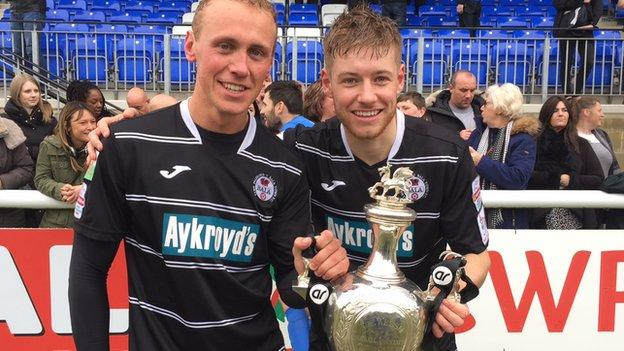 Bala goalscorers Kieran Smith and Jordan Evans celebrate with the Welsh Cup
