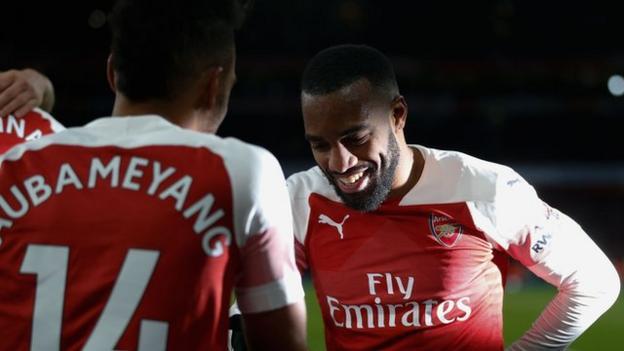 Alexandre Lacazette celebrates with Pierre-Emerick Aubameyang after Arsenal score against Manchester United