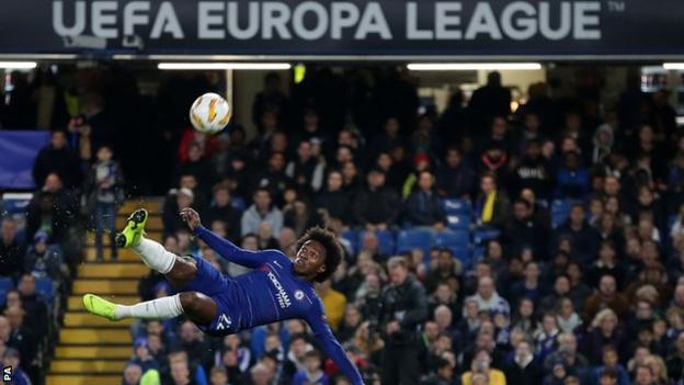 Chelsea's Willian in action against Bate Borisov