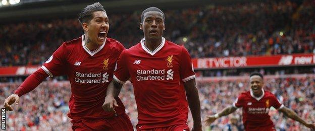 Roberto Firmino and Georgino Wijnaldum