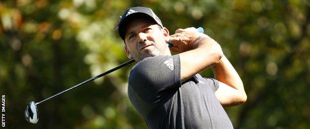 Sergio Garcia of Spain hits his tee shot on the ninth hole during the second round of the BMW Championship at Conway Farms Golf Club on September 15, 2017 in Lake Forest, Illinois.