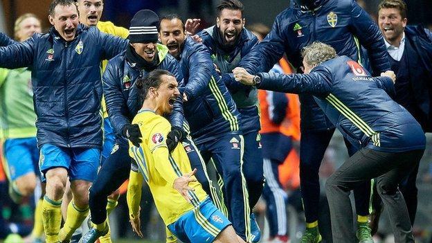 Sweden celebrate a Zlatan Ibrahimovic goal