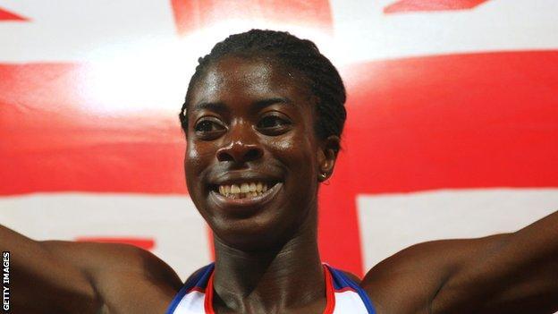Christine Ohuruogu celebrates winning Olympic gold