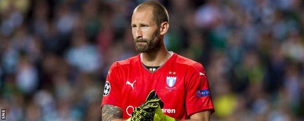Malmo goalkeeper Johan Wiland