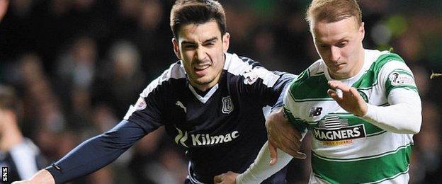 Celtic striker Leigh Griffiths tries to hold off Dundee's Julen Etxabeguren