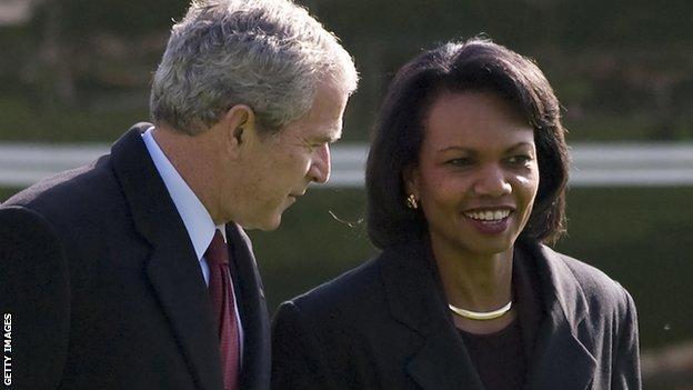 US President George W. Bush and US Secretary of State Condoleezza Rice in 2008