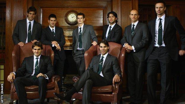 Juan Martin Del Potro, Novak Djokovic, Andy Murray, Fernando Verdasco, Nikolay Davydenko, Robin Soderling, Roger Federer and Rafael Nadal