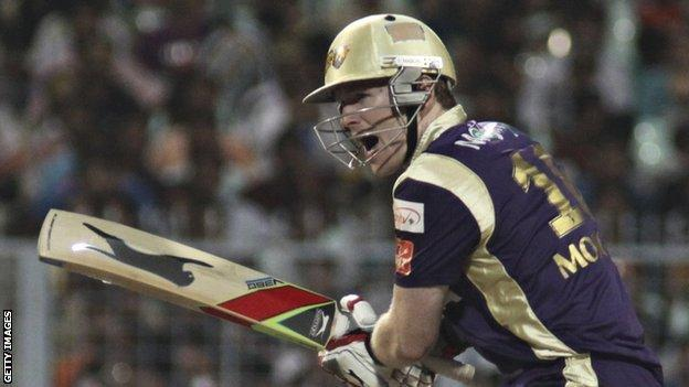Eoin Morgan in IPL action for Kolkata Knight Riders