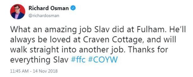 Reaction from Fulham fan: Richard Osman