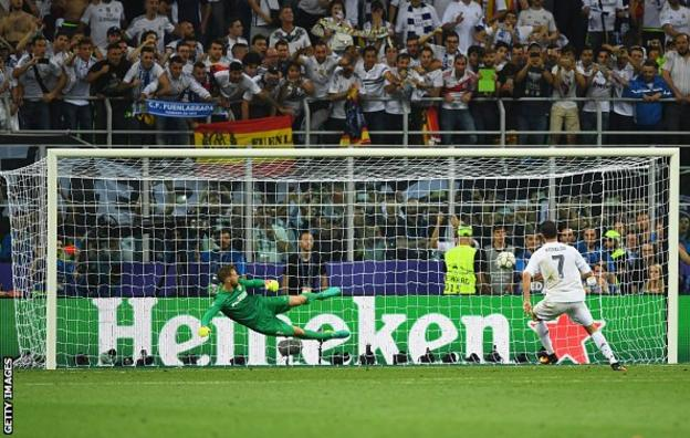 Cristiano Ronaldo scores the winning penalty in the 2016 Champions League final