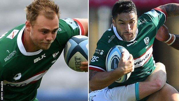 London Irish backs Matt Williams and Terrence Hepetema