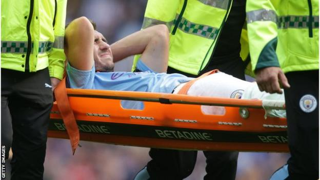 Laporte was taken off on a stretcher after suffering an injury