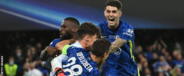 Chelsea captain joins César Azpilicueta in celebrating with Kepa after his penalty save